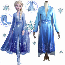 Nieuwe Volwassen Elsa Kostuum Sneeuw Queen Ijs Prinses Cosplay Froz 2 Halloween Carnaval Party Dress Disfraz Fancy Cartoon Kostuum(China)