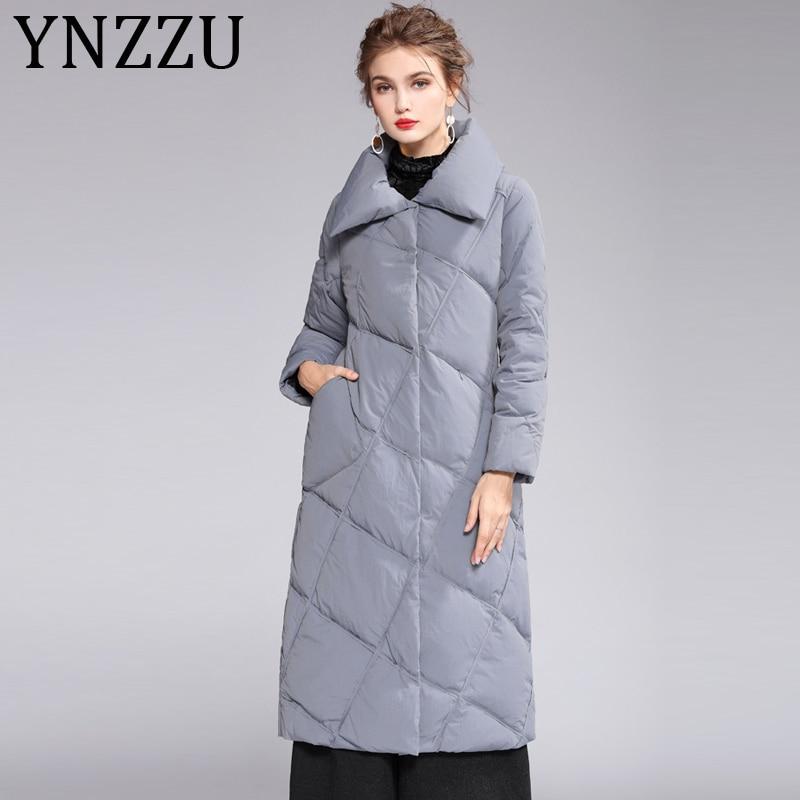 YNZZZU 2019 New Winter Women's Down Jacket Elegant Long 90% White Duck Down Coat Woman Vintage Pockets Warm Outwears A1142