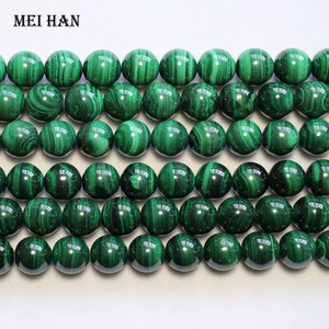 Image 2 - Meihan (1 גדיל) סיטונאי טבעי 11.5 12.5mm מלכיט עגול אבן loose חרוזים עבור חג המולד עיצוב תכשיטי ביצוע DIY
