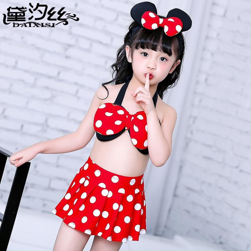 New Style Gauze Hot Selling Mickey Children Split Type KID'S Swimwear Three-piece Set Girls Baby Bikini