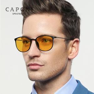 Image 1 - Очки солнцезащитные CAPONI BSYS520 мужские фотохромные, винтажные Поляризационные солнечные очки с дужками из β титана, с ночным видением