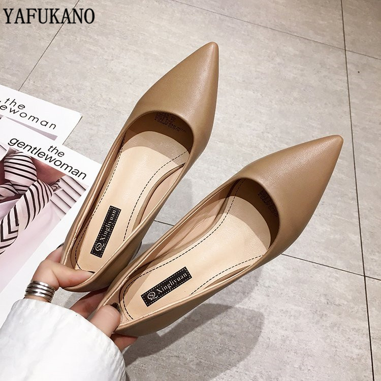 Concise Elegant Pointed Toe High Heels Fashion Female Single Shoes 6 Cm Square Heel Womens Work Shoes Black Professional Pumps