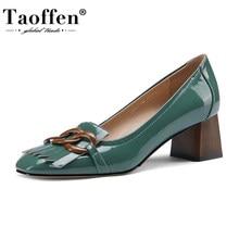 Taoffen – chaussures en cuir véritable à talons hauts pour femmes, escarpins en cuir verni à bout carré, à la mode, pointures 33 à 40, nouvelle collection
