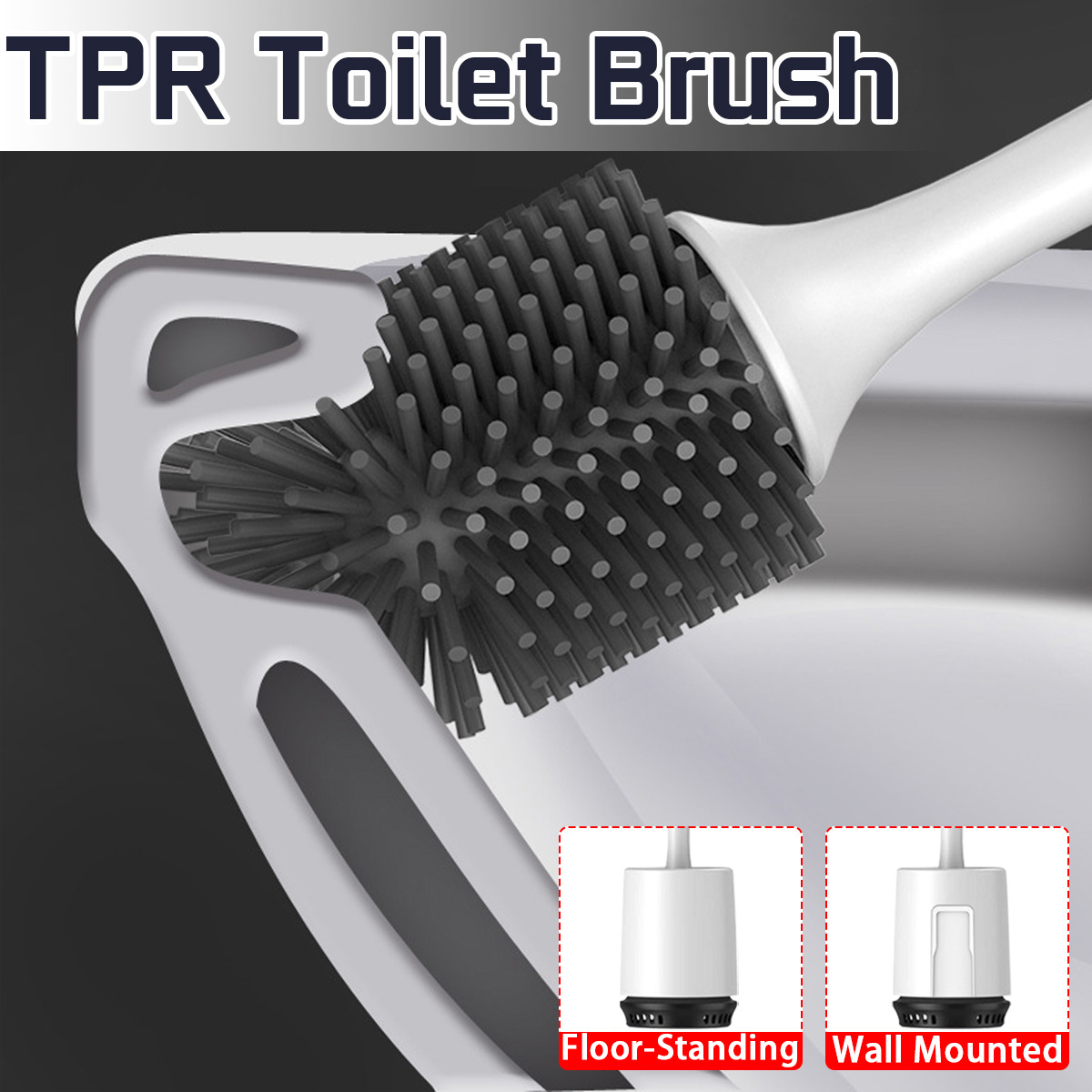 Rubber Head Holder No Dead Corner Cleaning Brush Longer Handle Toilet Brush With Hollow And Easy To Install Base Cleaning Tool