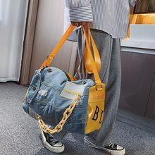 Bolso de hombro de tela vaquera para mujer, bandolera de gran capacidad, de viaje, de diseñador, de lujo, color azul, bolso grande