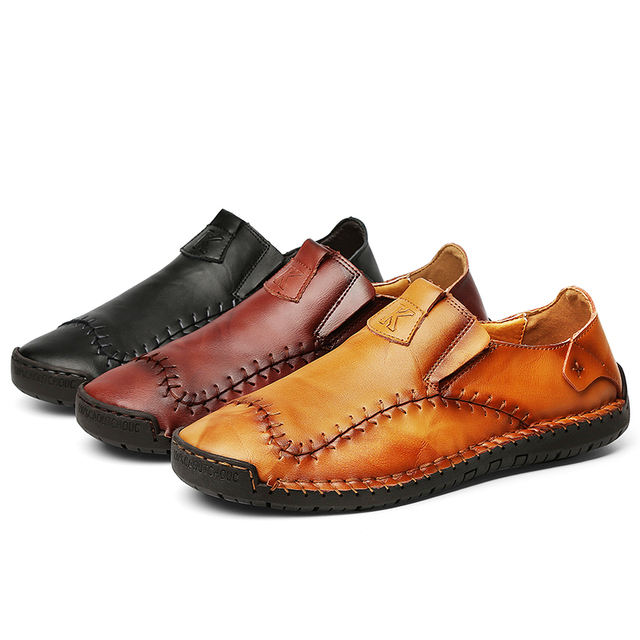 New Soft PU Leather Shoes Men Hand Stitching Mens Casual Shoes Trend Leather Shoes Male Soft Bottom Outdoor Shoes Plus Size 48