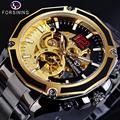 Forsining Золотой Скелет Военная Черная Нержавеющая Сталь дизайн автоматические спортивные часы механические часы лучший бренд класса люкс