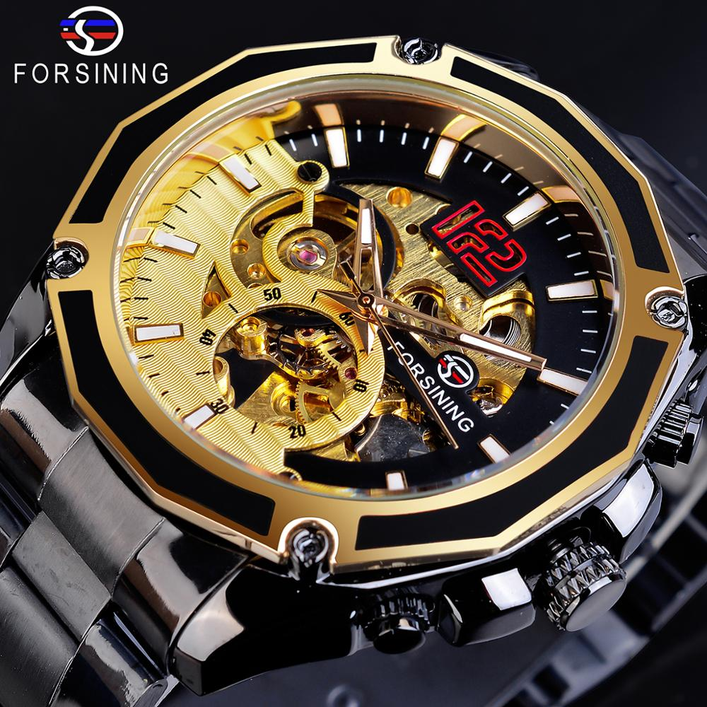 Forsining Golden Skeleton Military Black Stainless Steel Design Automatic Sport Hour Timepiece Mechanical Watch Top Brand Luxury