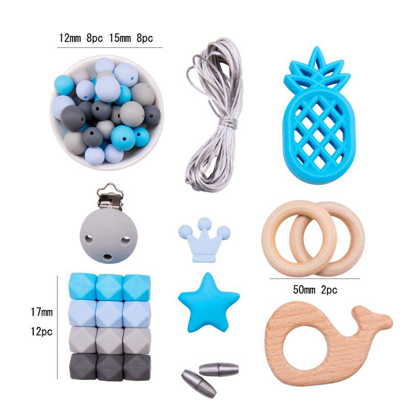 Let'S Make 1set Silicone Teether Silicone Beads For Necklaces Toddler Toys Baby Rattle DIY Beads For Baby Teether Baby Toy