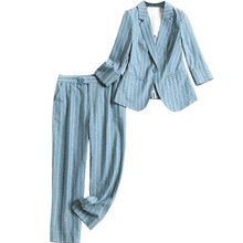 Work Harajuku Pant Suits 2 Piece Set for Women Single Button Striped Bl
