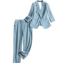 Work Harajuku Pant Suits 2 Piece Set for Women Single Button