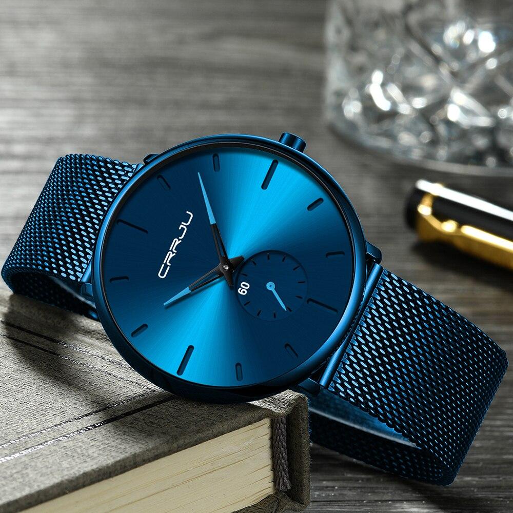 CRRJU Ultra Thin Blue Stainless steel Quartz Watches Men Simple Fashion Business Japan Wristwatch Clock Male CRRJU Ultra Thin Blue Stainless steel Quartz Watches Men Simple Fashion Business Japan Wristwatch Clock Male Relogio Masculino