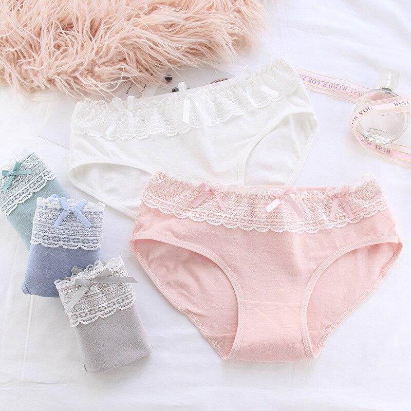 13-20Y Girls Cotton Underwear Children Lolita Lace Panties Young Teenages Mid Waist Briefs Casual Panties Majtki Dziewczynka