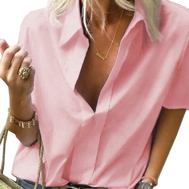 Camisa de talla grande 2019 para mujer, cuello en V profundo, sólido corto de manga, camisas casuales de moda para mujer, Tops de verano, Blusas formales de oficina 5