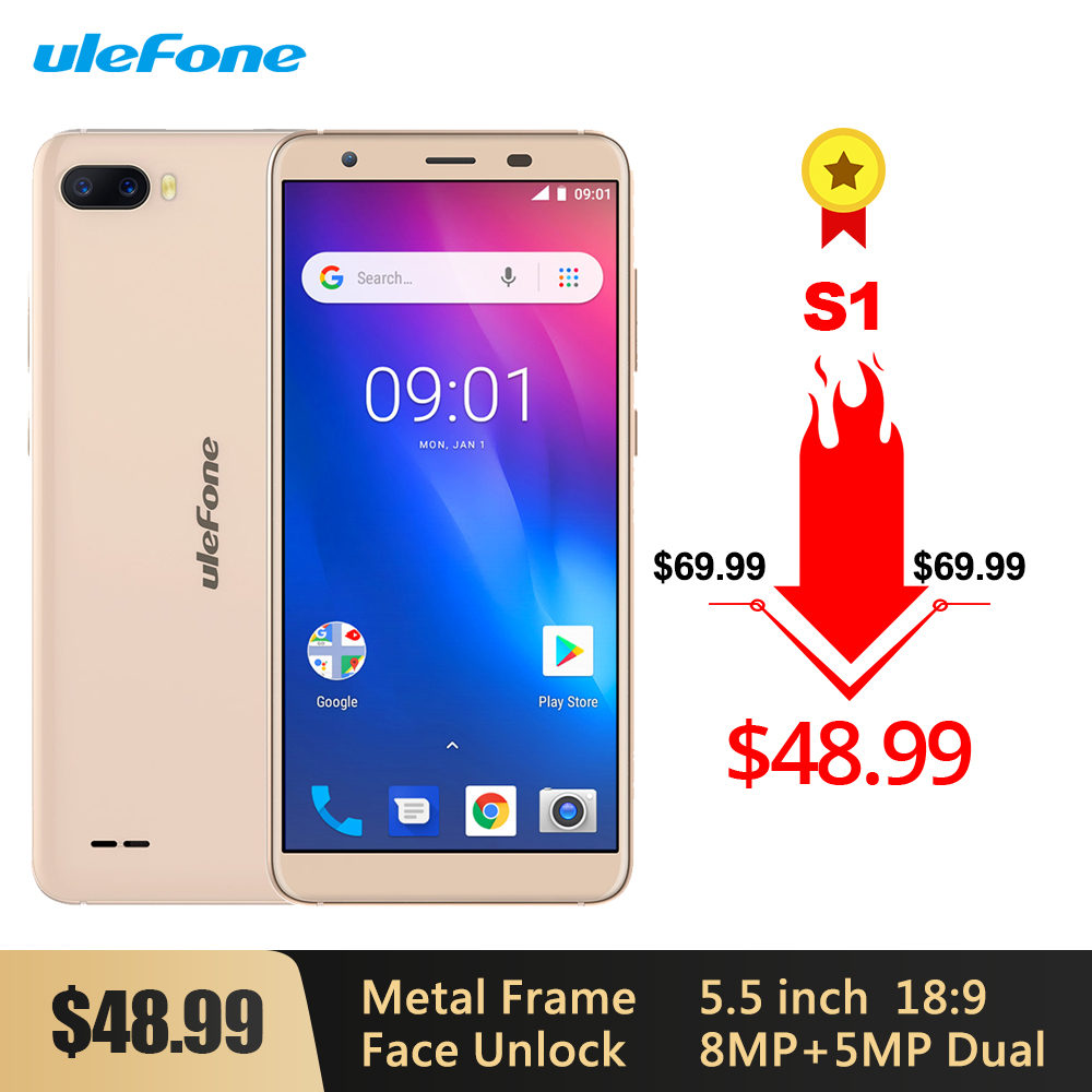 Ulefone S1 <font><b>MTK6580</b></font> <font><b>Quad</b></font> <font><b>Core</b></font> 1GB 8GB 8MP+5MP Rear Camera 3000mAh Face Unlock Android 8.1 5.5'' 18:9 Full Screen 3G <font><b>Smartphone</b></font> image