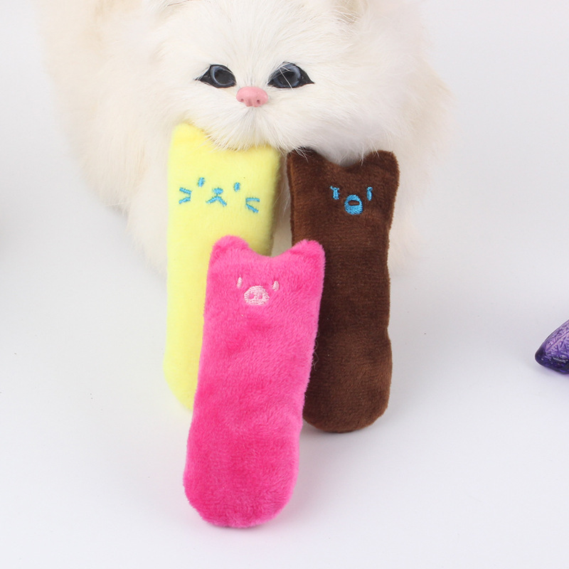 Pet plush catnip toy creative pinky ring shape enclosed paper puzzle bite molar resistant pet cat toys(China)