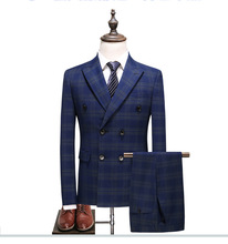 Blue Plaid Suit for Men (Jacket +Vest+Pant) 2019 New Party Wedding Suits Costume Mariage Homme Check Male Designs