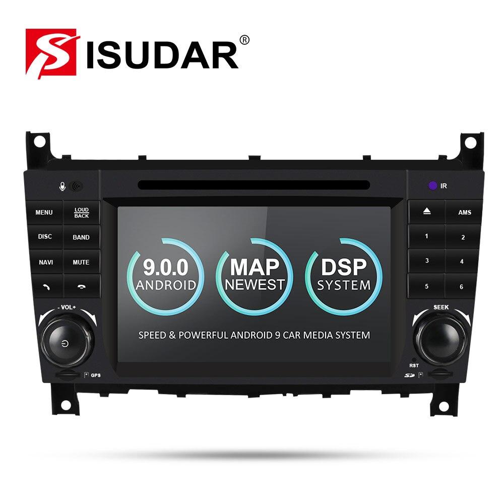 Radio automatique Isudar 2 Din Android 9 pour Mercedes/Benz/W203/CLK200/CLK22/C180/C200 CANBUS lecteur vidéo multimédia DVD GPS DVR
