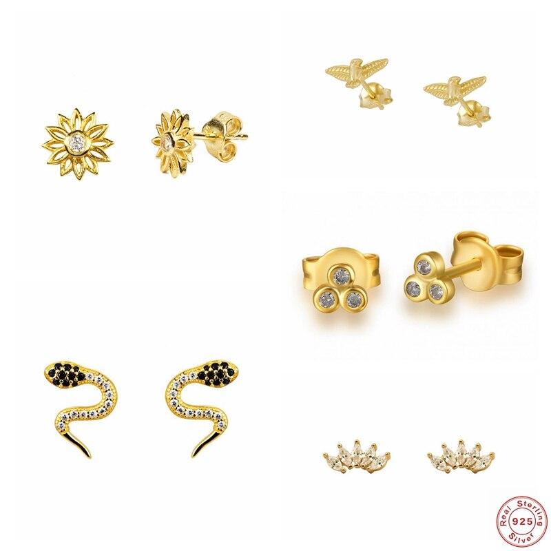 Pendientes de plata de ley 925 para parejas, aretes Dorados, Piercing ostentoso de CZ, joyería