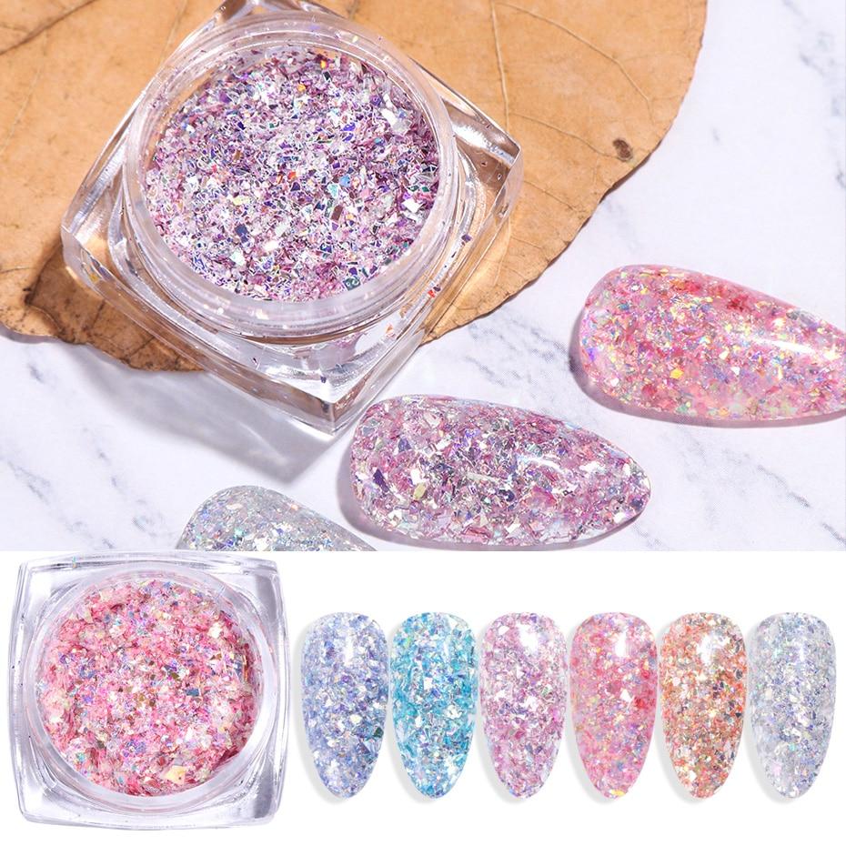 6pcs Sparkles Nail Glitter Mix Nail Art Powder Sequins Flakes Set Mermaid Holographic Decorations Manicure Chrome Pigment TR1552
