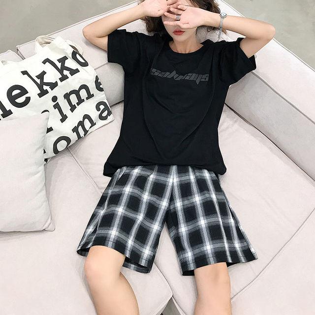 Shorts Women Summer Black Plaid Cotton Loose Korean-style Summer high waist Harajuku Simple Oversize Trousers Female Shorts 5