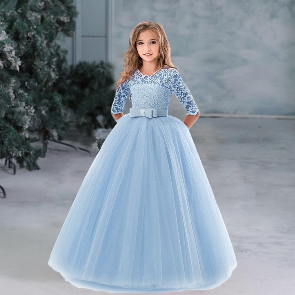Flower Girl's Birthday Banquet Long Sleeve Lace Dress Elegant Kid's Wedding Long White Dress Children Communion Evening Dress 4
