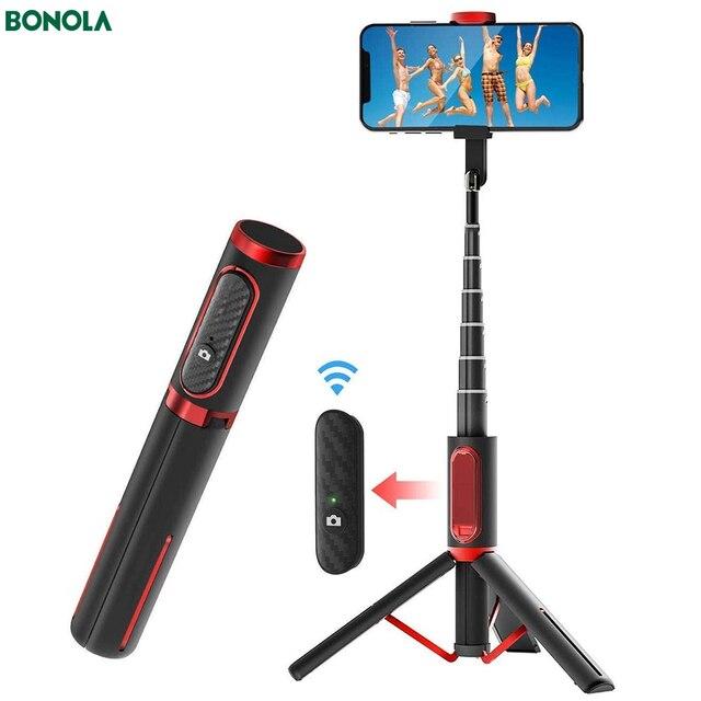 Bonola Palo Selfie para teléfono con Bluetooth palo Selfie de mano con trípode oculto resistente, soporte remoto ligero para transmisión en vivo
