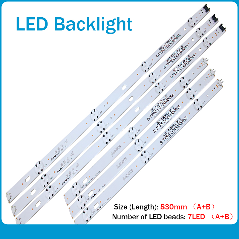 New 6 PCS LED Backlight Strip For LG 43UJ6300 43UK6300PUE LC43490087A LC43490088A LC43490077A LC43490078A SSC_43UJ63_A