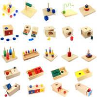 Montessori jouets sensoriels boîte Imbucare avec boîte Coin en bois Vertical disques horizontaux de base et compétences de la vie jouets main et pieds Finders