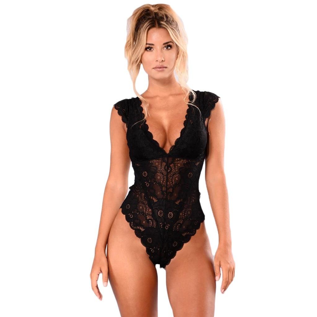 Body Sexy sans manches pour femmes, slim, dos nu, ajouré, Lingerie transparente