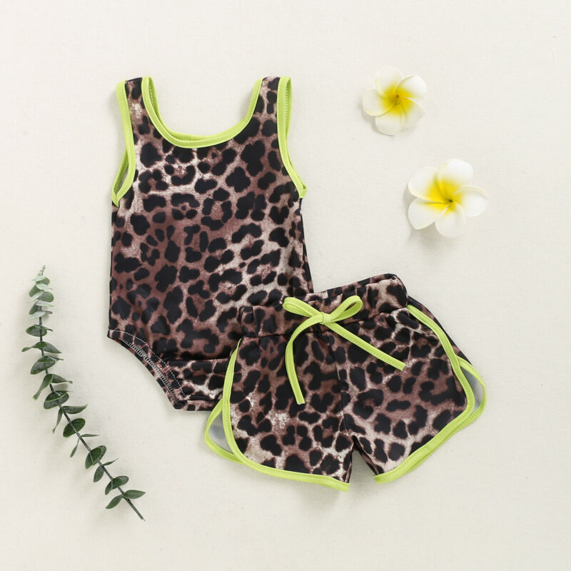 Summer Baby Girls Leopard Bikini Set Swimwear Swimsuit Bathing Suit Beachwear