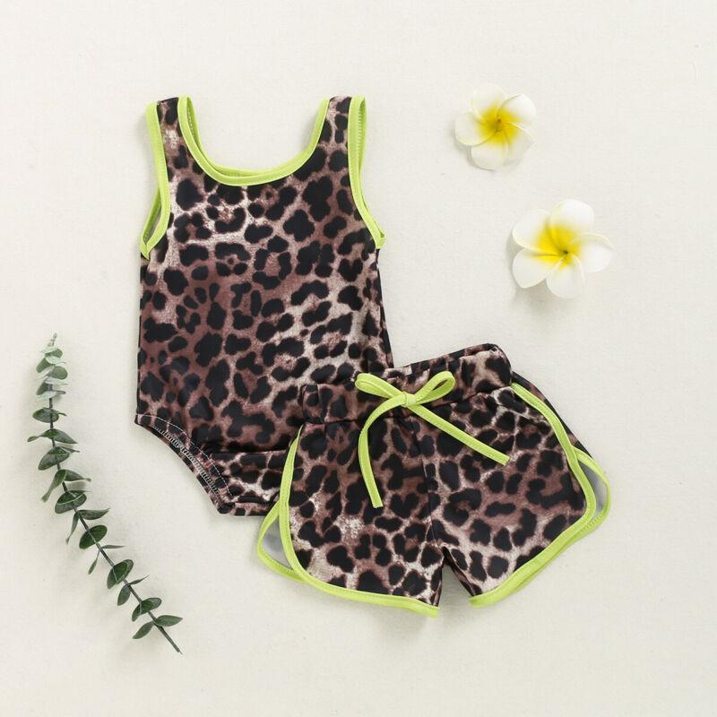 Summer Baby Girls Leopard Bikini Set Swimwear Swimsuit Bathing Suit Beachwear
