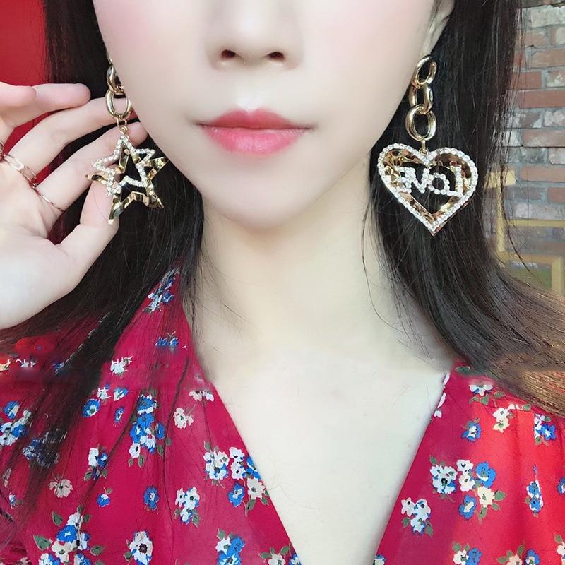 Mengjiqiao корейские стразы полые в форме сердца звезды свисающие