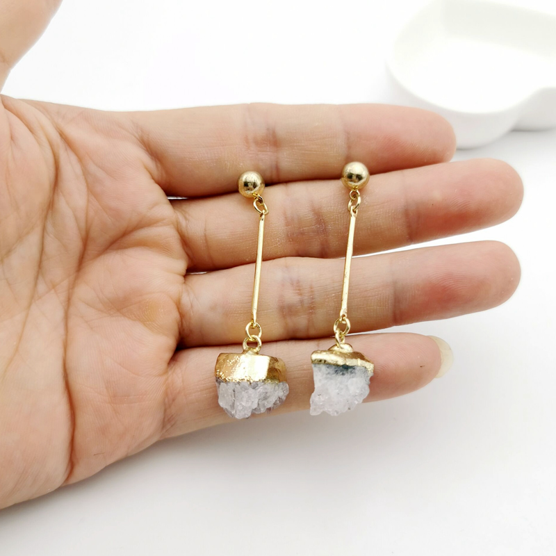 Brand Jewelry Natural Quartz Crystal Druse Gems Jewellery Women Push Back Earring Irregular Stone Charms Dangle Brinco