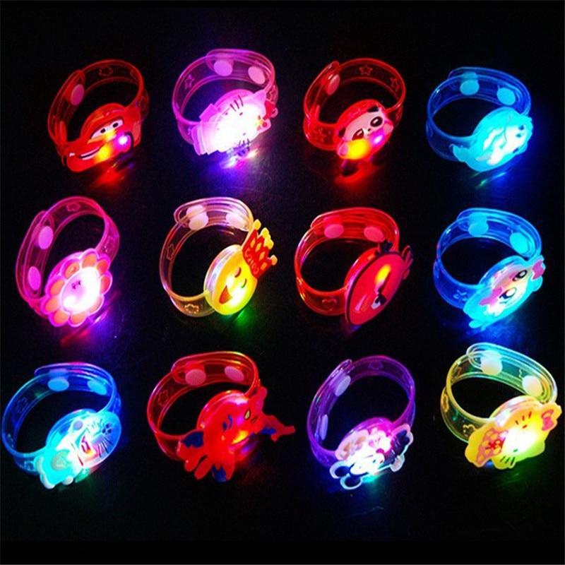 1Pc Novelty Cartoon Multicolor Light Flash Gift for Kid Luminous LED Lights Creative Bracelet Watch Flash Wrist Luminous Toys(China)