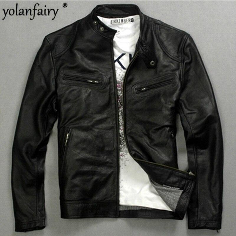 YOLANFAIRY Genuine Leather Jacket Man 2020 Real Cow Leather Coat  Men's Fashion Motorcycle Jackets 2018006 MF062