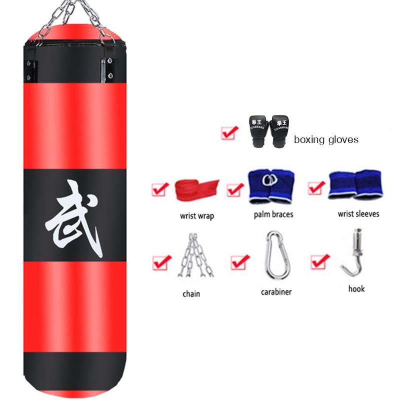 60-120cm Training Sandbag MMA Boxing Punching Bag Empty Sports Kick Boxing Muay Thai Sandbag & Hand Wraps & Gloves(Buy 1 Get 8)