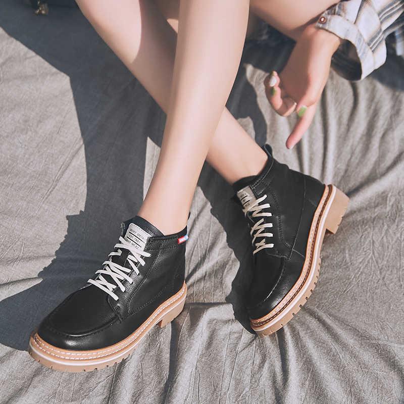 Martin bottes femme 2020 nouveau en cuir véritable femme bottes courtes chaussures de loisirs britanniques grande taille 42 43 44 femme bottines