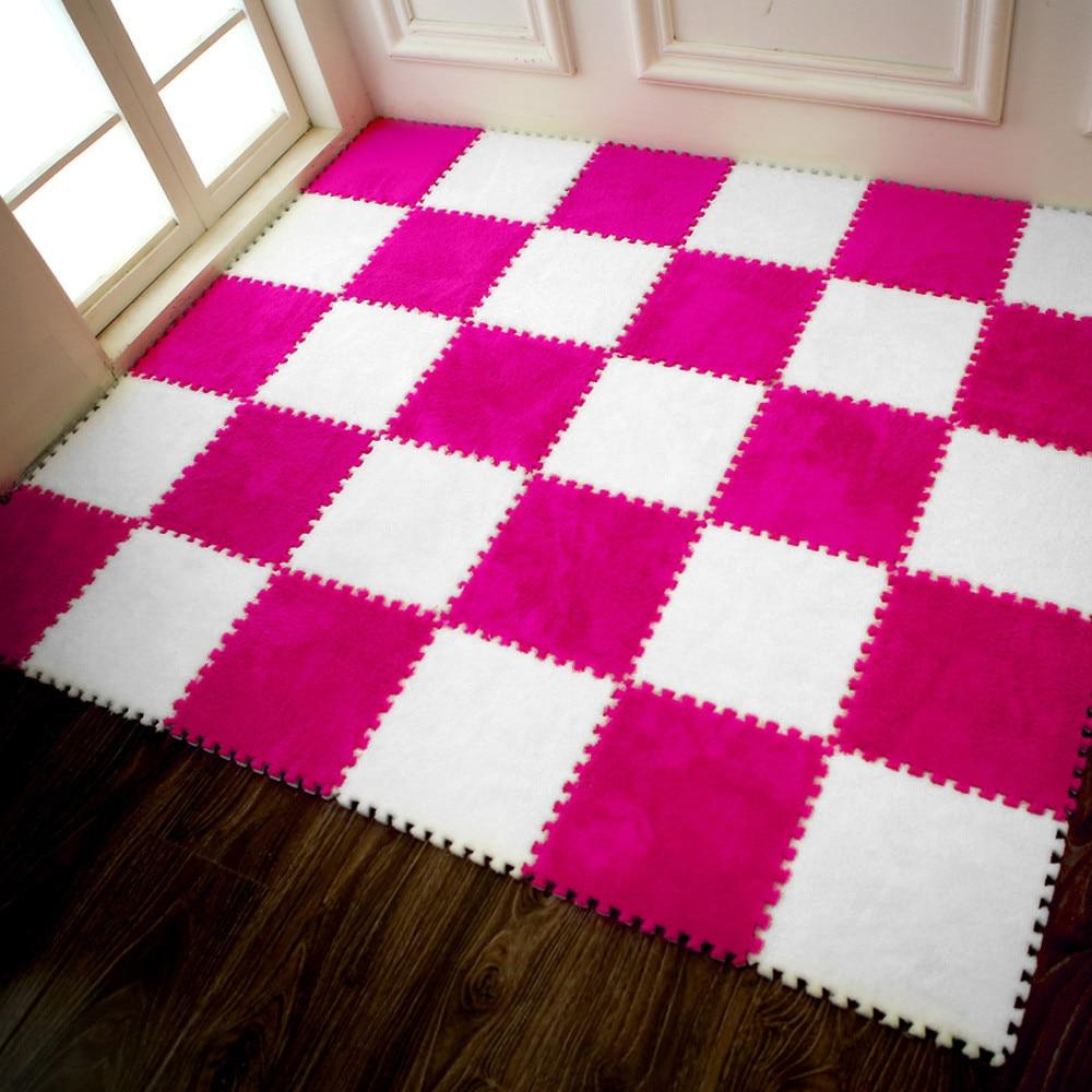 Hcd4d5eff981e42f4b2c8221d79484616B Play Mats 25X25cm Kids Carpet Foam Puzzle Mat EVA Shaggy Velvet Baby Eco Floor 7 colors 10.30