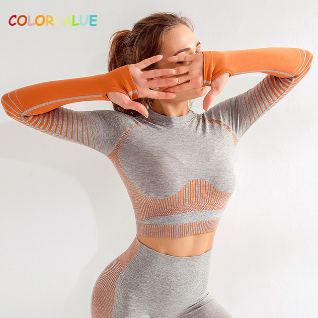 $ US $19.69 Colorvalue Quick Dry Seamless Yoga Gym Workout Crop Top Women Slim Fit Striped Fitness Sport Long Sleeved Shirts with Thumb Hole