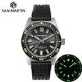 San Martin 62Mas Diver автоматические механические мужские часы NH35 нержавеющая сталь керамический ободок солнцезащитный Циферблат резиновый календ...