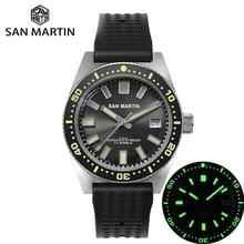 Автоматические механические мужские часы San Martin 62Mas Diver NH35 с керамической рамкой из нержавеющей стали и резиновым календарем