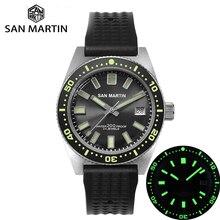 San martin 62mas mergulhador mecânico automático relógio masculino nh35 aço inoxidável moldura cerâmica sunray dial calendário de borracha luminosa