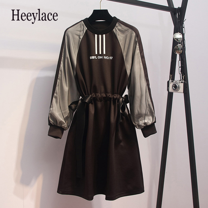 Large Plus Size L- 5XL Fashion Sport Dress Women Contrast Color Long Sleeve Autumn Bodycon A Line Dress Drawstring Sportwear