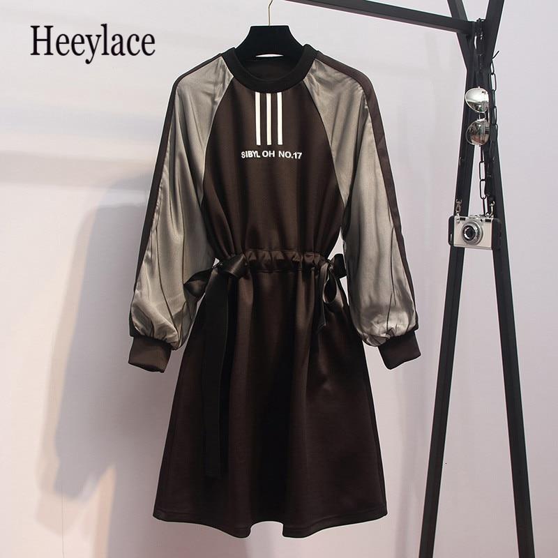 Large Plus Size L- 5XL Fashion Sport Dress Women Contrast Color Long Sleeve Autumn Bodycon A Line Dress Drawstring Sportwear