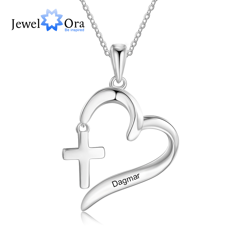 Personalized Name Heart Pendant Necklace with Cross Customize Engraving Women Necklace Jewelry Mother Gift (JewelOra NE104188)
