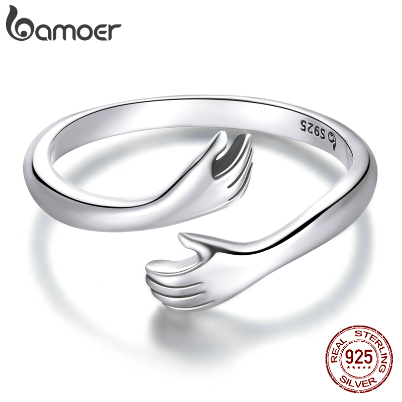 bamoer 925 Sterling Silver Hug Warmth and Love Hand Adjustable Ring for Women Party Jewelry, His Big Loving Hugs Ring BSR176