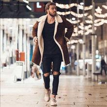 Men Faux Fur Lambswool Jacket Winter Warm Coat Outwear Long Thicken Parka Lot