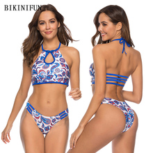 New Sexy High Neck Bikini Women Swimsuit Blue Floral Print Bathing Suit S-XL Girl Backless Halter Swimwear Micro Bikini Set недорого