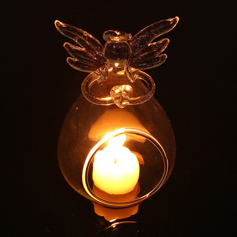 Angel Glass Crystal Hanging Tea Light Candle Holder Home Decor Candlestick Glass Candle Holders Hanger 11x7cm image